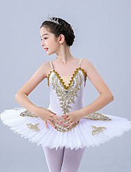 cheap -Kids' Dancewear Gymnastics Ballet Leotard / Onesie Scattered Bead Floral Motif Style Pleats Pearls Girls' Training Performance Sleeveless Tulle Polyester