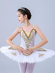 cheap -Kids' Dancewear / Gymnastics / Ballet Leotards / Tutus & Skirts Girls' Training / Performance Polyester / Tulle Scattered Bead Floral Motif Style / Pleats / Pearls Sleeveless Leotard / Onesie