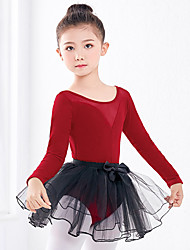 cheap -Ballet Dresses / Outfits Girls' Training / Performance Tulle / Polyester / Cotton Blend / Lycra Satin Bow / Lace / Split Joint Long Sleeve Skirts