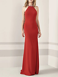 cheap -Sheath / Column Elegant Engagement Prom Dress Halter Neck Sleeveless Sweep / Brush Train Chiffon with Sleek Beading 2021