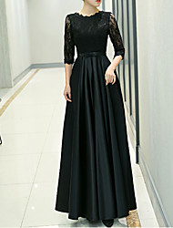 cheap -A-Line Jewel Neck Floor Length Polyester Elegant / Black Formal Evening / Wedding Guest Dress with Pleats 2020