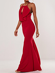 cheap -Mermaid / Trumpet Sexy Red Engagement Formal Evening Dress Halter Neck Sleeveless Sweep / Brush Train Polyester with Ruffles 2020
