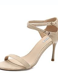 cheap -Women's Sandals Stiletto Heel Round Toe Suede Summer Black / Almond