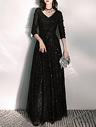 cheap -A-Line Glittering Prom Formal Evening Dress V Neck 3/4 Length Sleeve Floor Length Tulle with Appliques 2020