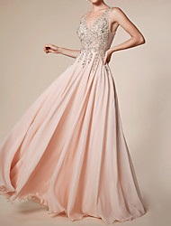 cheap -A-Line Empire Pink Engagement Prom Dress V Neck Sleeveless Floor Length Chiffon with Beading Sequin Appliques 2020