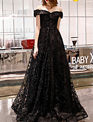 cheap -A-Line Off Shoulder Floor Length Polyester Sparkle / Black Prom / Formal Evening Dress with Appliques 2020