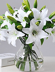cheap -1pcs Artificial Lily Artificial Flower Home Living Room Decoration Display Flower 37cm