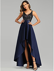 cheap -A-Line Sexy Blue Prom Formal Evening Dress V Neck Sleeveless Asymmetrical Satin Polyester with Sequin 2020