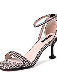 cheap -Women's Sandals Stiletto Heel Square Toe Suede Summer Black / Khaki