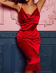 cheap -Women's Red Black Dress Sheath Solid Color Strap S M