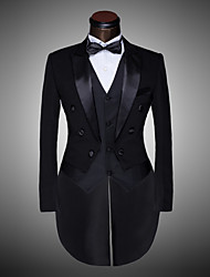 cheap -Men's Suits, Solid Colored Notch Lapel Polyester Black / White