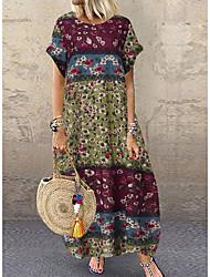 cheap -Women's Shift Dress Maxi long Dress - Short Sleeves Floral Spring Summer V Neck Loose 2020 Blue Blushing Pink Green M L XL XXL XXXL XXXXL XXXXXL