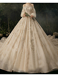 cheap -Ball Gown Wedding Dresses Sweetheart Neckline Watteau Train Lace Long Sleeve Formal Wedding Dress in Color with 2020
