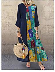 cheap -Women's Maxi Blue Dress Shift Print L XL Loose / Cotton