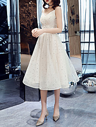 cheap -A-Line Glittering White Graduation Cocktail Party Dress Spaghetti Strap Sleeveless Tea Length Tulle with Ruched Sequin 2020