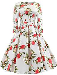 cheap -Women's White Dress A Line Sheath Floral S M