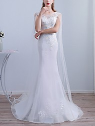 cheap -Mermaid / Trumpet Jewel Neck Sweep / Brush Train Lace Long Sleeve Beach Cape Wedding Dresses with Lace Insert / Embroidery 2020