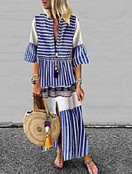 cheap -Women's Shift Dress - Striped Blue S M L XL