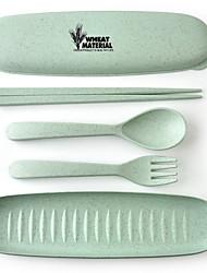Недорогие -кухня пшеничная солома материал столовые приборы палочки для еды вилка ложка дорожный набор экологически разлагаемый