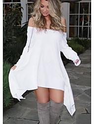 cheap -Women's Asymmetrical White Dress Swing Solid Color Off Shoulder S M