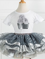 cheap -Kids Girls' Basic Print Short Sleeve Clothing Set Light Brown