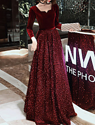 cheap -A-Line Glittering Red Prom Formal Evening Dress Scoop Neck Long Sleeve Floor Length Sequined Velvet with Sequin 2020