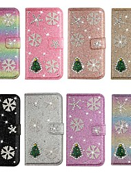 cheap -Case For iPhone Xs Max / iPhone 11 Pro / iPhone 11 Pro Max Wallet / Card Holder / Shockproof Christmas Tree Diamond Glitter PU Leather Case For iPhone XR/XS iPhone 7 Plus / 8 Plus / 6s Plus / 5S / Se