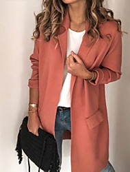 cheap -Women's Blazer, Solid Colored Notch Lapel Polyester Black / Blushing Pink / Beige