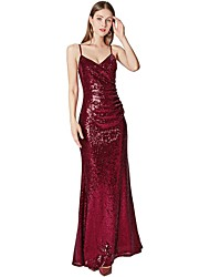 cheap -Sheath / Column Spaghetti Strap Floor Length Tulle / Sequined Sparkle / Red Prom / Formal Evening Dress with Sequin 2020