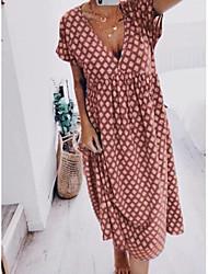 cheap -Women's 2020 Purple Blushing Pink Dress Boho Summer Casual Shift Shirt Polka Dot V Neck Floral S M Loose