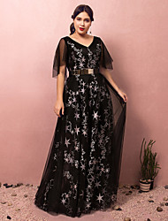 cheap -A-Line Plus Size Black Prom Formal Evening Dress V Neck Half Sleeve Floor Length Lace Satin Tulle with Sash / Ribbon Pleats Sequin 2020
