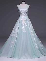 cheap -Ball Gown Illusion Neck Court Train Lace Floral / Turquoise / Teal Prom / Formal Evening Dress with Beading / Appliques 2020