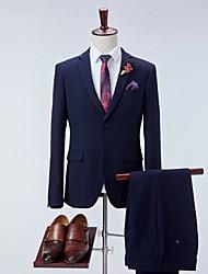 cheap -Men's Suits Notch Lapel Polyester Navy Blue