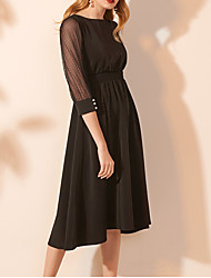 cheap -A-Line Jewel Neck Knee Length Lace / Satin Maternity / Black Cocktail Party / Holiday Dress with Buttons / Pleats 2020
