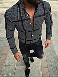 cheap -Men's Striped Plaid Print Shirt Daily Button Down Collar Black / Spring / Fall / Long Sleeve
