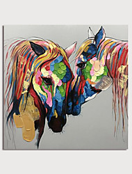 cheap -Hand Painted Canvas Oilpainting Abstract Horses by Knife Home Decoration with Frame Painting Ready to Hang