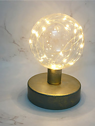cheap -Globe Shape Led Night Lamp Creative Retro Style Metal Copper Wire Lantern Round Modeling Bedside Lamp Home Table Art Decor Lighting AA Battery Power come without battery)