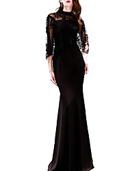 cheap -Mermaid / Trumpet Jewel Neck Floor Length Polyester Elegant / Black Engagement / Formal Evening Dress with Appliques 2020