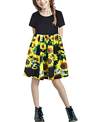 cheap -Kids Girls' Basic Cute Floral Patchwork Print Short Sleeve Above Knee Dress Black