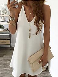 cheap -Women's Shift Dress - Solid Color Black White Blushing Pink S M L XL