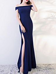 cheap -Mermaid / Trumpet Minimalist Blue Wedding Guest Prom Dress Off Shoulder Sleeveless Floor Length Polyester with Split 2020