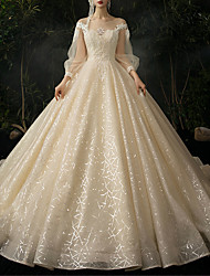 cheap -Ball Gown Jewel Neck Watteau Train Lace / Tulle Long Sleeve Formal Wedding Dress in Color Wedding Dresses with 2020