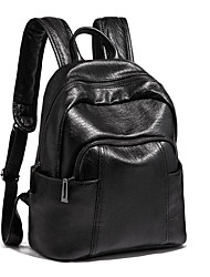 cheap -Large Capacity Polyester PU Zipper Commuter Backpack Solid Color Sports Black / Brown