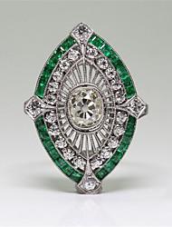 cheap -Women's Ring 1pc Silver Copper Imitation Diamond Irregular Stylish Gift Festival Jewelry Classic Flower