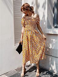cheap -Women's Wine Yellow Dress Sheath Floral Off Shoulder S M