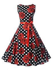 cheap -Women's A Line Dress - Sleeveless Print White Black Blue Red Blushing Pink Light Green S M L XL XXL