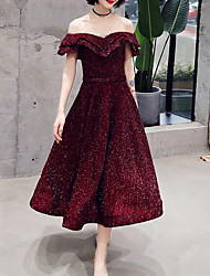 cheap -A-Line Glittering Red Cocktail Party Prom Dress Off Shoulder Short Sleeve Tea Length Spandex Sequined with Sequin Ruffles 2020