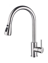 cheap -Kitchen faucet - Single Handle One Hole Stainless Steel Pull-out / Pull-down Centerset Contemporary Kitchen Taps Smart Touch Induction 304 Stainless Steel Hot And Cold Water Mixer Kitchen Sink Faucet