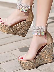 cheap -Women's Sandals Wedge Heel Open Toe PU Summer Gold / Black