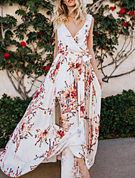 cheap -Women's Maxi White Dress Boho Street chic Daily Beach A Line Floral Sweetheart Neckline Split Print S M